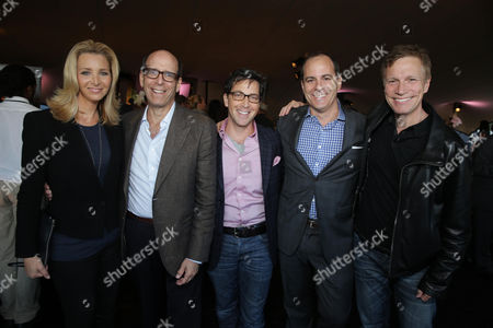 EXCLUSIVE CONTENT - PREMIUM RATES APPLY Lisa Kudrow, Matthew C. Blank; Showtime Chairman and Chief Executive Officer, Dan Bucatinsky and David Nevins; President Of Entertainment, Showtime Networks Inc. and Don Roos at the Showtime 2013 TCA Party, on Monday, July, 29, 2013 in Beverly Hills, Calif