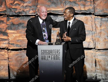 Inductees Mike Stoller, left, and Ben E. King attend the 2012 Songwriters Hall of Fame induction and awards gala at the Marriott Marquis Hotel, in New York