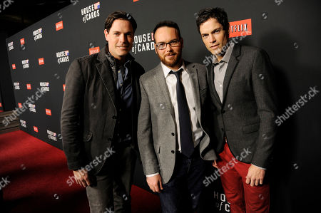 "From left, Jaron Lowenstein, Dana Brunetti and Evan Lowenstein arrive at a special screening for season 2 of ""House of Cards"", on in Los Angeles"