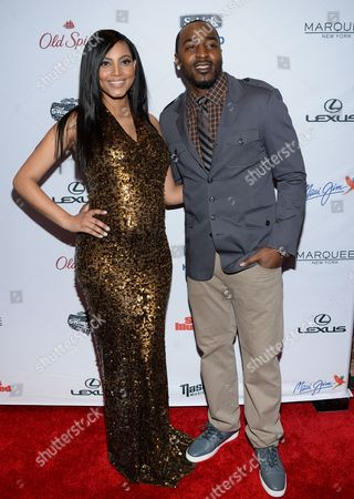 Ariel Meredith and Hakeem Nicks attend Sports Illustrated's Swimsuit Issue 2015 Celebration at Marquee, In New York