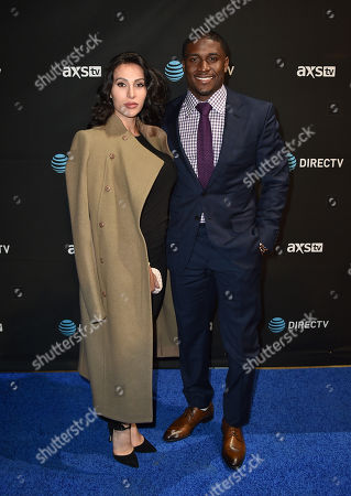 Lilit Avagyan, left, and Reggie Bush arrive at DIRECTV Super Saturday Night at Pier 70, in San Francisco, Calif