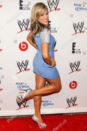 WWE ring announcer Lilian Garcia arrives at the Superstars of Hope honors Make A Wish Foundation event at The Beverly Hills Hotel on in Beverly Hills, Calif