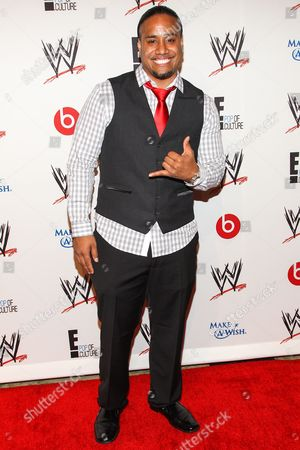 WWE Superstar Jonathan Fatu (AKA Jimmy Uso) arrive at the Superstars of Hope honors Make A Wish Foundation event at The Beverly Hills Hotel on in Beverly Hills, Calif