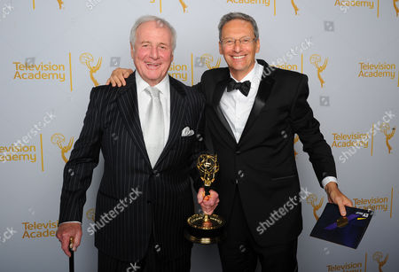 Jerry Weintraub, left and David Gelber poses for a portrait at the Television Academy's Creative Arts Emmy Awards at the Nokia Theater L.A. LIVE, in Los Angeles