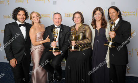 EXCLUSIVE -From left, Sean Fine, Andrea Nix Fine, Scott Berns, Nancy Abarham, and Jeff Consiglio pose for a portrait at the Television Academy's Creative Arts Emmy Awards at the Nokia Theater L.A. LIVE, in Los Angeles