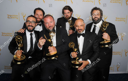 BJ Levin, and from left, Tim Clancy, Shane Smith, Jedd Thomas, Eddy Moretti, and Jonah Kaplan pose for a portrait at the Television Academy's Creative Arts Emmy Awards at the Nokia Theater L.A. LIVE, in Los Angeles