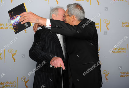 Stock Picture of Jerry Weintraub, left and David Gelber poses for a portrait at the Television Academy's Creative Arts Emmy Awards at the Nokia Theater L.A. LIVE, in Los Angeles