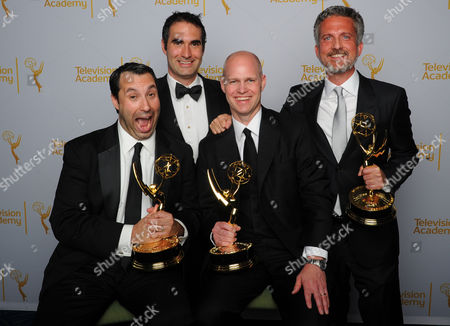 Dan Silver, and from left, Connor Schell, John Dahl, and Bill Simmons pose for a portrait at the Television Academy's Creative Arts Emmy Awards at the Nokia Theater L.A. LIVE, in Los Angeles