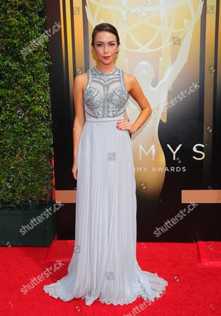 Joanna Sotomura arrives at the Television Academy's Creative Arts Emmy Awards at Microsoft Theater, in Los Angeles