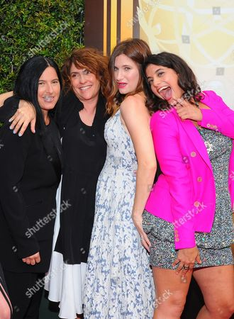 Andrea Sperling, from left, Jill Soloway, Kathryn Hahn and Jessie Kahnweiler arrive at the Television Academy's Creative Arts Emmy Awards at Microsoft Theater, in Los Angeles