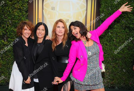 Jill Soloway, from left, Andrea Sperling, Rebecca Odes and Jessie Kahnweiler arrive at the Television Academy's Creative Arts Emmy Awards at Microsoft Theater, in Los Angeles