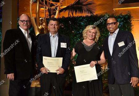 """Tim Gibbons, from left, Steven Moffat, Sue Vertue and Hayma """"Screech"""" Washington attend the Television Academy's 2016 Producers Nominee Reception at the Montage Hotel, in Beverly Hills, Calif"""