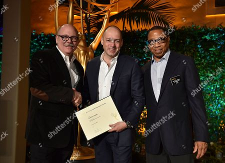 """Tim Gibbons, from left, Gareth Neame and Hayma """"Screech"""" Washington attend the Television Academy's 2016 Producers Nominee Reception at the Montage Hotel, in Beverly Hills, Calif"""