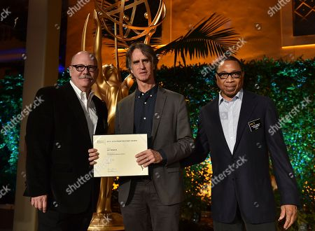 """Tim Gibbons, from left, Jay Roach and Hayma """"Screech"""" Washington attend the Television Academy's 2016 Producers Nominee Reception at the Montage Hotel, in Beverly Hills, Calif"""