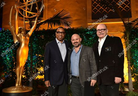 """Hayma """"Screech"""" Washington, from left, David Wiener and Tim Gibbons attend the Television Academy's 2016 Producers Nominee Reception at the Montage Hotel, in Beverly Hills, Calif"""