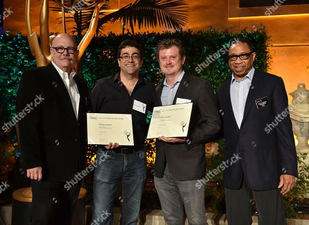 """Tim Gibbons, from left, Hameed Shaukat, Beau Willimon and Hayma """"Screech"""" Washington attend the Television Academy's 2016 Producers Nominee Reception at the Montage Hotel, in Beverly Hills, Calif"""