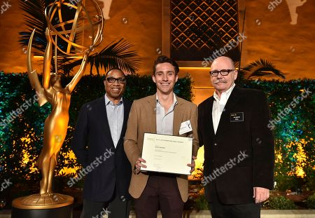"""Hayma """"Screech"""" Washington, from left, Ross Buran and Tim Gibbons attend the Television Academy's 2016 Producers Nominee Reception at the Montage Hotel, in Beverly Hills, Calif"""