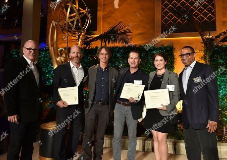 """Tim Gibbons, from left, James Degus, Jay Roach, Darryl Frank, Michelle Graham, and Hayma """"Screech"""" Washington attend the Television Academy's 2016 Producers Nominee Reception at the Montage Hotel, in Beverly Hills, Calif"""