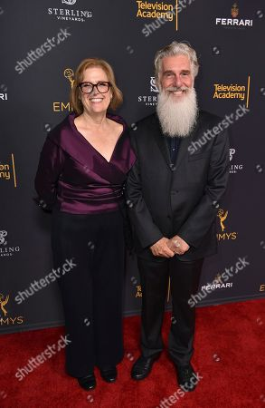 Bernadette Caulfield, left, and Chris Newman attend the Television Academy's 2016 Producers Nominee Reception at the Montage Hotel, in Beverly Hills, Calif