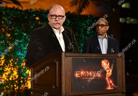 """Tim Gibbons, left, and Hayma """"Screech"""" Washington speak at the Television Academy's 2016 Producers Nominee Reception at the Montage Hotel, in Beverly Hills, Calif"""