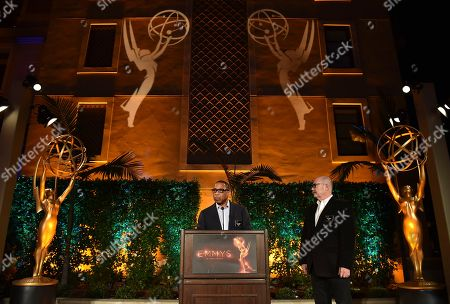 """Hayma """"Screech"""" Washington, left, and Tim Gibbons speak at the Television Academy's 2016 Producers Nominee Reception at the Montage Hotel, in Beverly Hills, Calif"""
