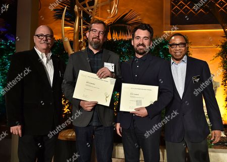 """Tim Gibbons, from left, Erik Kenward, Rhys Thomas and Hayma """"Screech"""" Washington attend the Television Academy's 2016 Producers Nominee Reception at the Montage Hotel, in Beverly Hills, Calif"""