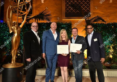"Tim Gibbons, from left, XXX, Kim Todd, Chad Oakes and Hayma ""Screech"" Washington attend the Television Academy's 2016 Producers Nominee Reception at the Montage Hotel, in Beverly Hills, Calif"