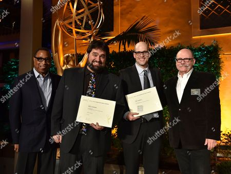 """Hayma """"Screech"""" Washington, from left, Andy Signore, Dan Murrell and Tim Gibbons attend the Television Academy's 2016 Producers Nominee Reception at the Montage Hotel, in Beverly Hills, Calif"""