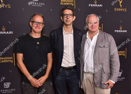 Stock Image of Stephen Cornwell, from left, Alexei Boltho, and Simon Cornwell attend the Television Academy's 2016 Producers Nominee Reception at the Montage Hotel, in Beverly Hills, Calif