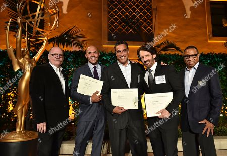 "Tim Gibbons, from left, Tony Romero, Doug DeLuca, David Craig and Hayma ""Screech"" Washington attend the Television Academy's 2016 Producers Nominee Reception at the Montage Hotel, in Beverly Hills, Calif"