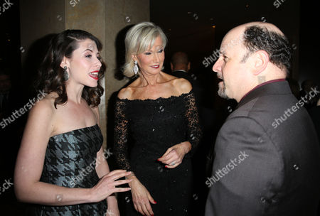 """Lauren Miller, from left, Laurie Burrows Grad and Jason Alexander arrive at the 24th annual Alzheimer's Association """"A Night at Sardi's"""" at the Beverly Hilton hotel, in Beverly Hills, Calif"""