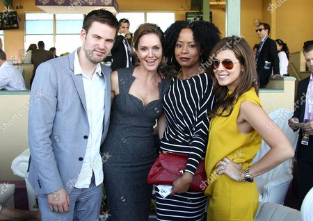 IMAGE DISTRIBUTED FOR BREEDERS' CUP - From left, Zach Cregger, Erinn Hayes, Tempestt Bledsoe, and Jamie Lynn Sigler are seen on Day 2 of the Breeders' Cup World Championships, in Arcadia, Calif