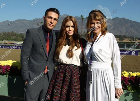 Holland Roden, Colton Haynes, and Lysa Heslov are seen on Day 2 of the Breeders' Cup World Championships, in Arcadia, Calif