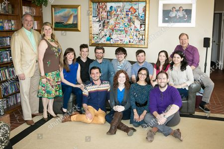 Stock Picture of L-R] Stewart F. Lane, Bonnie Comley, Annie Tippe, Paul Bedard, Dustin Wills, Brad Raimondo, Emily Lyon, Austin Regan, Aneesha Kudtarkar, Daniel Rogers, Sarah Wansley, Brandon Woolf, Estefania Fadul, Roger Danforth and Alyssa Renzi pose for a portrait at The Drama League: Meet the Directing Fellows hosted by Stewart F. Lane & Bonnie Comley at their home, in New York, NY