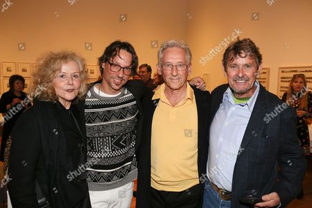 Stock Picture of From left, Danna Ruscha, Eddie Ruscha, artist Ed Ruscha and Bob Neuwirth pose during the opening reception for Overdrive: L.A. Constructs the Future, 1940-1990 and In Focus: Ed Ruscha as part of Pacific Standard Time Presents: Modern Architecture in L.A. held at the Getty Museum on in Los Angeles, California