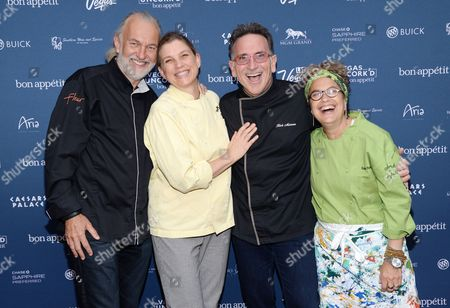 "Chefs Hubert Keller, left, Mary Sue Milliken, Rick Moonen and Susan Feniger attend ""The Grand Tasting"" during Vegas Uncork'd by Bon Appetit, presented by Chase Sapphire Preferred, at The Garden of The Gods, Caesars Palace, in Las Vegas"
