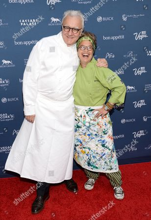 """Chefs Alain Ducasse and Susan Feniger attend """"The Grand Tasting"""" during Vegas Uncork'd by Bon Appetit, presented by Chase Sapphire Preferred, at The Garden of The Gods, Caesars Palace, in Las Vegas"""
