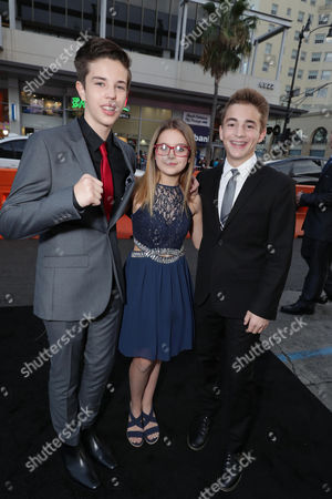 """Seth Lee, Izzy Fenech and Jake Presley seen at the Los Angeles World Premiere of Warner Bros. Pictures' """"The Accountant"""" to benefit the American Film Institute at the TCL Chinese Theater, in Los Angeles"""