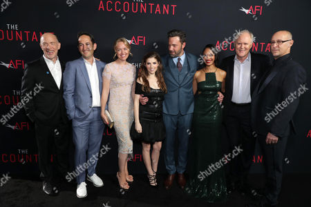 J.K. Simmat the TCL Chinese Theater ons, Greg Silverman, President of Creative Development and Worldwide Productiat the TCL Chinese Theater on for Warner Bros. Pictures, Producer Lynette Howell Taylor, Anna Kendrick, Ben Affleck, Cynthia Addai-Robinsat the TCL Chinese Theater, John Lithgow and Director/Executive Producer Gavin O'Cat the TCL Chinese Theater onnor seen at the Los Angeles World Premiere of Warner Bros. Pictures' 'The Accountant' to benefit the American Film Institute at the TCL Chinese Theater on Mat the TCL Chinese Theater onday, in Los Angeles