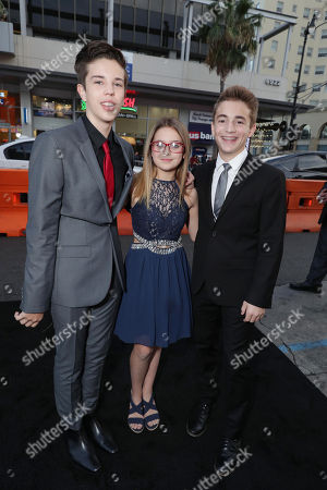 """Seth Lee, Izzy Fenech and Jake Presley seen at the Los Angeles World Premiere of Warner Bros. Pictures' """"The Accountant"""" to benefit the American Film Institute at the TCL Chinese Theater on Mat the TCL Chinese Theater onday, in Los Angeles"""