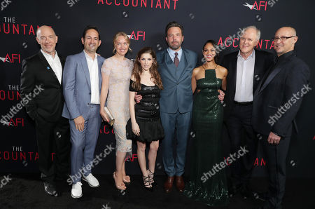 """J.K. Simmat the TCL Chinese Theater ons, Greg Silverman, President of Creative Development and Worldwide Productiat the TCL Chinese Theater on for Warner Bros. Pictures, Producer Lynette Howell Taylor, Anna Kendrick, Ben Affleck, Cynthia Addai-Robinsat the TCL Chinese Theater, John Lithgow and Director/Executive Producer Gavin O'Cat the TCL Chinese Theater onnor seen at the Los Angeles World Premiere of Warner Bros. Pictures' """"The Accountant"""" to benefit the American Film Institute at the TCL Chinese Theater on Mat the TCL Chinese Theater onday, in Los Angeles"""