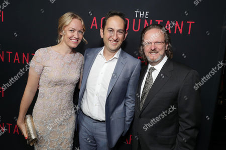 "Producer Lynette Howell Taylor, Greg Silverman, President of Creative Development and Worldwide Production for Warner Bros. Pictures, and Bob Gazzale, President and CEO of American Film Institute, seen at the Los Angeles World Premiere of Warner Bros. Pictures' ""The Accountant"" to benefit the American Film Institute at the TCL Chinese Theater, in Los Angeles"
