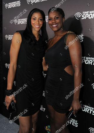 Candace Parker, left, and Jantel Lavender arrive at the Time Warner Cable Sports launch event hosted by Time Warner Cable Sports, in Los Angeles