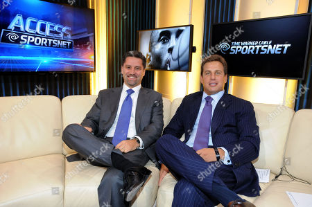 President and Chief Operating Officer Rob Marcus, left, and Jeff Hirsch, Executive Vice President and Chief Marketing Officer, Residential Services for Time Warner Cable, are seen on the set of Time Warner Cable SportsNet at the Time Warner Cable Sports launch event, in Los Angeles