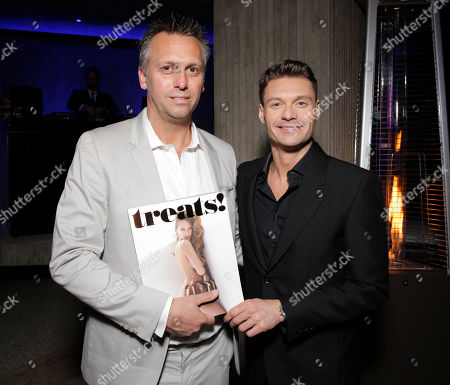 Treats! Publisher Steve Shaw, left, and Ryan Seacrest attend Treats! Magazine 7th Issue Launch Party Honoring Cover Star Dylan Penn hosted by DSTLD Jeans and Shnaap, on in Beverly Hills, Calif