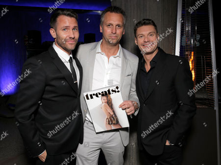 DJ Zen Freeman, Treats! Publisher Steve Shaw and Ryan Seacrest attend Treats! Magazine 7th Issue Launch Party Honoring Cover Star Dylan Penn hosted by DSTLD Jeans and Shnaap, on in Beverly Hills, Calif