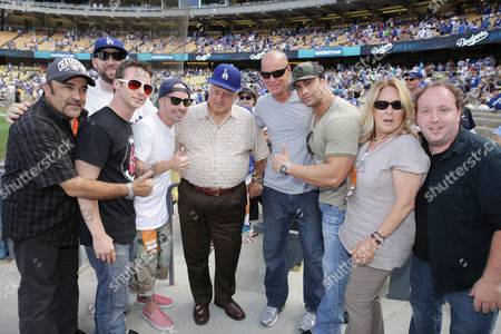 Daniel Zacapa, Victor DiMattia, Grant Gelt, Chauncey Leopardi, Tommy Lasorda, Director David Mickey Evans, Marty York, Producer Cathleen Summers and Shane Obedzinski seen at Twentieth Century Fox Home Entertainment celebrating the 20th anniversary of 'The Sandlot' at Dodger Stadium, on Sunday, Sep, 1, 2013 in Los Angeles
