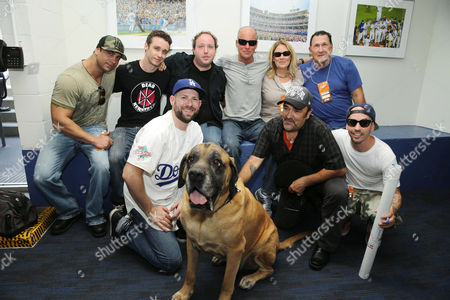 From back row left, Marty York, Victor DiMattia, Shane Obedzinski, Director David Mickey Evans, Producer Cathleen Summers, Art LaFleur, Grant Gelt, 'The Best', Daniel Zacapa and Chauncey Leopardi seen at Twentieth Century Fox Home Entertainment celebrating the 20th anniversary of 'The Sandlot' at Dodger Stadium, on Sunday, Sep, 1, 2013 in Los Angeles