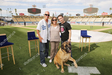 Director David Mickey Evans, Producer Cathleen Summers, Victor DiMattia and 'The Best' seen at Twentieth Century Fox Home Entertainment celebrating the 20th anniversary of 'The Sandlot' at Dodger Stadium, on Sunday, Sep, 1, 2013 in Los Angeles