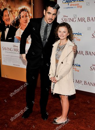 "Colin Farrell, left, and Annie Rose Buckley arrive at the U.S. Premiere of ""Saving Mr. Banks"" - Arrivals at Disney Studios on Monday, December, 9, 2013 in Burbank, Calif"